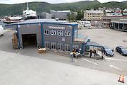 Port buildings at Stokmarknes, Hadsel municipality, Hadseloya island, Nordland, Vesteralen region, northern Norway