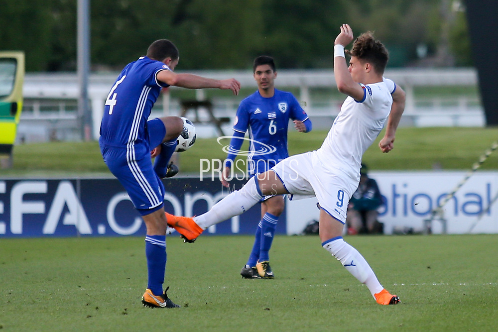 Edoardo Vergani of Italy (9) fouls Dan Lugassy of Israel (4) during the UEFA European Under 17 Championship 2018 match between Israel and Italy at St George's Park National Football Centre, Burton-Upon-Trent, United Kingdom on 10 May 2018. Picture by Mick Haynes.