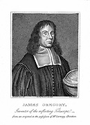 James Gregory (1638-75) Scottish mathematician. In 1663 published 'Optica Promota' describing his reflecting telescope. Corresponded with Newton. Stipple engraving.