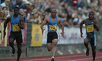 Friidrett, 28. juni 2002, Golden League - Bislett Games, Oslo. Dwain Chambers (1), Maurice Greene (150),  Tim Montgomery (121)