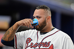 May 15, 2018 - Atlanta, GA, U.S. - ATLANTA, GA Ð MAY 15:  Braves relief pitcher Luis Gohara (53) gets s drink in the dugout between innings during the game between Atlanta and Chicago on May 15th, 2018 at SunTrust Park in Atlanta, GA. The Chicago Cubs beat the Atlanta Braves by a score of 3 Ð 2.  (Photo by Rich von Biberstein/Icon Sportswire) (Credit Image: © Rich Von Biberstein/Icon SMI via ZUMA Press)