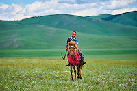 Mongolie, province de Bayankhongor, fêtes traditionnelles de Naadam, course de chevaux // Mongolia, Bayankhongor province, Naadam, traditional festival, horse racing