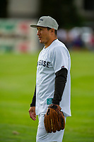 KELOWNA, CANADA - JUNE 28: Retired NHL player Jordin Tootoo warms up on the field prior to the opening charity game of the Home Base Slo-Pitch Tournament fundraiser for the Kelowna General Hospital Foundation JoeAnna's House on June 28, 2019 at Elk's Stadium in Kelowna, British Columbia, Canada.  (Photo by Marissa Baecker/Shoot the Breeze)