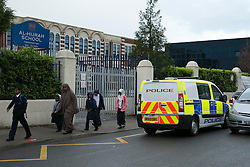 © Licensed to London News Pictures. 09/06/2014. Al-Hijrah School, Bordesley Green, Birmingham, UK. In a seperate incident to the Trojan Horse conflict in Birmingham, parents at a nearby school, the Al-Hijrah, in Bordesley Green, are protesting to stop inspectors visiting their school. This is the third week Birmingham City Council have tried to gain access to the school, but, have up to to today, have been denied access. Photo credit : Dave Warren/LNP