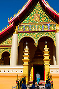 Front view  of Wat Ong Teu, Vientiane, Laos.
