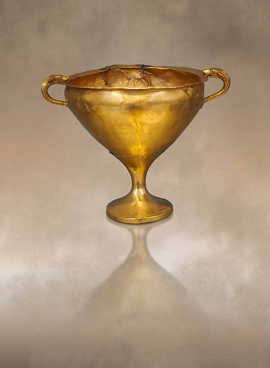 Mycenaean gold goblet with two handles ening with a dogs head biting the rim,  Acropolis Treasure of Mycenae, Greece, National Archaeological Museum of Athens.  This goblet was found as part of a hoard looted in antiquity from Grave Circle A and buried outside the enclosure. 15th century BC .<br /> <br /> If you prefer to buy from our ALAMY PHOTO LIBRARY  Collection visit : https://www.alamy.com/portfolio/paul-williams-funkystock/mycenaean-art-artefacts.html . Type -   Athens    - into the LOWER SEARCH WITHIN GALLERY box. Refine search by adding background colour, place, museum etc<br /> <br /> Visit our MYCENAEN ART PHOTO COLLECTIONS for more photos to download  as wall art prints https://funkystock.photoshelter.com/gallery-collection/Pictures-Images-of-Ancient-Mycenaean-Art-Artefacts-Archaeology-Sites/C0000xRC5WLQcbhQ