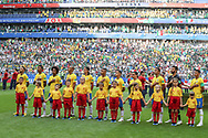 Team of Brazil during anthems before the 2018 FIFA World Cup Russia, round of 16 football match between Brazil and Mexico on July 2, 2018 at Samara Arena in Samara, Russia - Photo Thiago Bernardes / FramePhoto / ProSportsImages / DPPI