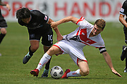 Hawke's Bay United's Gavin Hoy and Waitakere United's Dane Schnell fight for the ball in the Handa Premiership football match, Hawke's Bay United v Waitakere United, Bluewater Stadium, Napier, Sunday, December 20, 2020. Copyright photo: Kerry Marshall / www.photosport.nz
