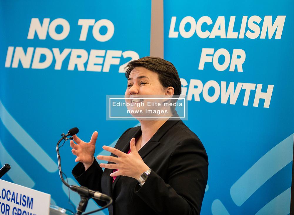 Scottish Coinservatives leader Ruth Davidson speaking at the G & V Hotel in Edinburgh whilst on the election campaign trail.<br /> <br /> © Dave Johnston/ EEm
