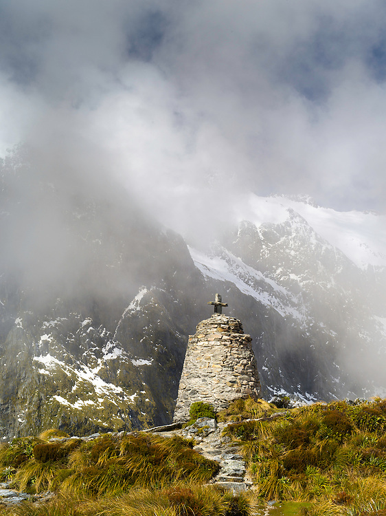 Rock memorial to Quintin MacKinnon, who first made the Milford Track along the Arthur and Clinton Rivers; Fiordland National Park, Southland, New Zealand