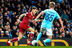 Josh Brownhill of Bristol City is challenged by Oleksandr Zinchenko of Manchester City - Rogan/JMP - 09/01/2018 - Etihad Stadium - Manchester, England - Manchester City v Bristol City - Carabao Cup Semi Final First Leg.