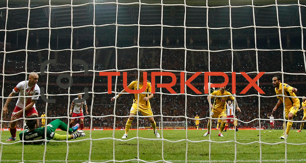 Galatasaray's goalkeeper Fernando Muslera, Cristiano Marques Gomes (N3) and Eskisehirspor's (L-R) Tello, Atdhe Nuhiu, Necati Ates, Erkan Zengin scores an own goal during their Turkish Super League soccer match Galatasaray between Eskisehirspor at the TT Arena at Seyrantepe in Istanbul Turkey on Saturday, 06 October 2012. Photo by TURKPIX