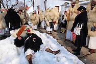 Buso's on the Monady house visits of  the Busojaras Spring  festival 2010 Mohacs Hungary - Stock photos .<br /> <br /> Visit our HUNGARY HISTORIC PLACES PHOTO COLLECTIONS for more photos to download or buy as wall art prints https://funkystock.photoshelter.com/gallery-collection/Pictures-Images-of-Hungary-Photos-of-Hungarian-Historic-Landmark-Sites/C0000Te8AnPgxjRg