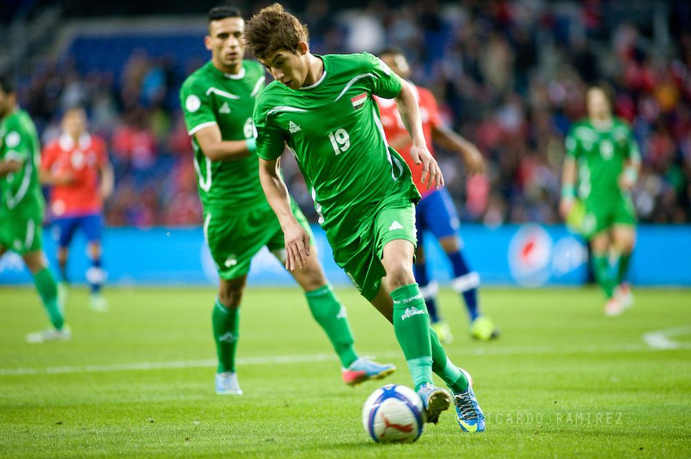 14.09.13. Brondby, Denmark.Irak's Dhurgham Ismael Alquraushi in action against Chile during the international friendly match at the Brondby Stadium in Denmark.Photo: © Ricardo Ramirez