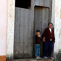 Central America, Cuba, Remedios. Cuban mother and son in Remedios.