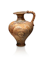 The Minoan decorated jug with elaborate design, Palaikastro,  1500-1450 BC; Heraklion Archaeological  Museum, white background .<br /> <br /> If you prefer to buy from our ALAMY PHOTO LIBRARY  Collection visit : https://www.alamy.com/portfolio/paul-williams-funkystock/minoan-art-artefacts.html . Type -   Heraklion   - into the LOWER SEARCH WITHIN GALLERY box. Refine search by adding background colour, place, museum etc<br /> <br /> Visit our MINOAN ART PHOTO COLLECTIONS for more photos to download  as wall art prints https://funkystock.photoshelter.com/gallery-collection/Ancient-Minoans-Art-Artefacts-Antiquities-Historic-Places-Pictures-Images-of/C0000ricT2SU_M9w