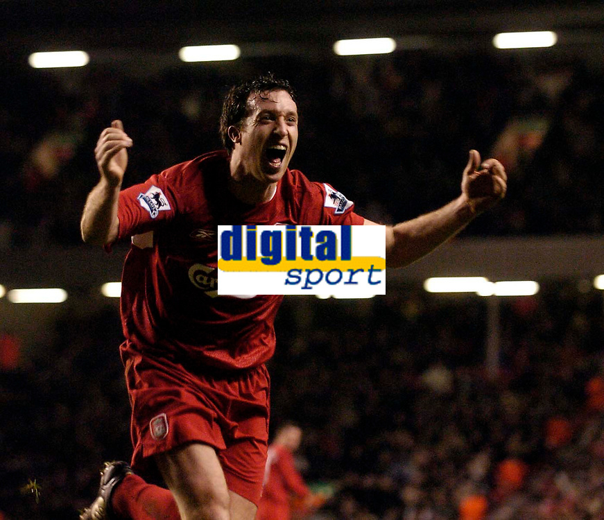 Photo: Jed Wee.<br />Liverpool v Charlton Athletic. The Barclays Premiership. 04/03/2006.<br />Liverpool's Robbie Fowler celebrates what he thought was a late winner, but the effort was ruled out by the offside flag.