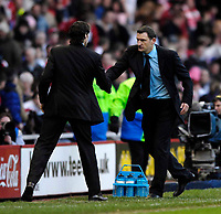 Photo: Jed Wee/Sportsbeat Images.<br /> Middlesbrough v West Bromwich Albion. The FA Cup. 17/02/2007.<br /> <br /> West Brom manager Tony Mowbray (R) shakes hands with Middlesbrough manager Gareth Southgate at the end of the game.