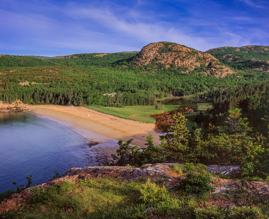 Sand Beach view in summer & The Beehive, Acadia National Park, from Great Head, New England, Acadia National Park, ME