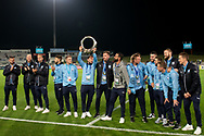 SYDNEY, AUSTRALIA - MAY 21: Sydney FC player Adam Le Fondre (9) holds up the A-League Champions Trophy at AFC Champions League Soccer between Sydney FC and Kawasaki Frontale on May 21, 2019 at Netstrata Jubilee Stadium, NSW. (Photo by Speed Media/Icon Sportswire)
