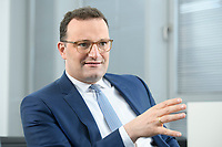 05 MAY 2021, BERLIN/GERMANY:<br /> Jens Spahn, CDU, Bundesgesundheitsminister, wahrend einem Interview, in seinem Buero, Bundesministerium fur Gesundheit<br /> IMAGE: 202105005-01-003