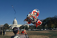 Kites being flown on the Washington Mall  in April 1998.<br />Photo by Dennis Brack