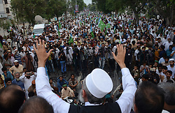 July 31, 2017 - Lahore, Punjab, Pakistan - Senator SIRAJUL HAQ, leader of Jamaat-e-Islami Pakistan addressing a public gathering at Mall Road in Lahore. (Credit Image: © Rana Sajid Hussain/Pacific Press via ZUMA Wire)