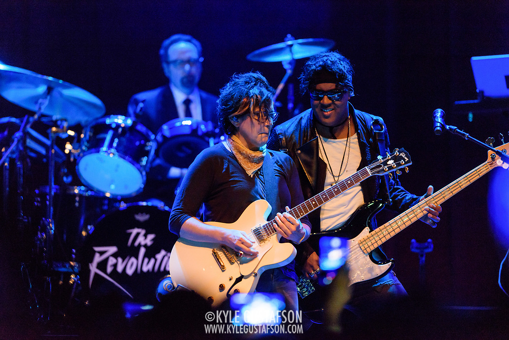 """SILVER SPRING, MD - April 27th, 2017 - Robert """"Bobby Z"""" Rivkin, Wendy Melvoin and Mark """"Brownmark"""" Brown of The Revolution perform at the Fillmore Silver Ring in Silver Spring, MD. The Revolution played on most of Prince's biggest hits and have returned to the road in the wake of his 2016 death. (Photo by Kyle Gustafson / For The Washington Post)"""