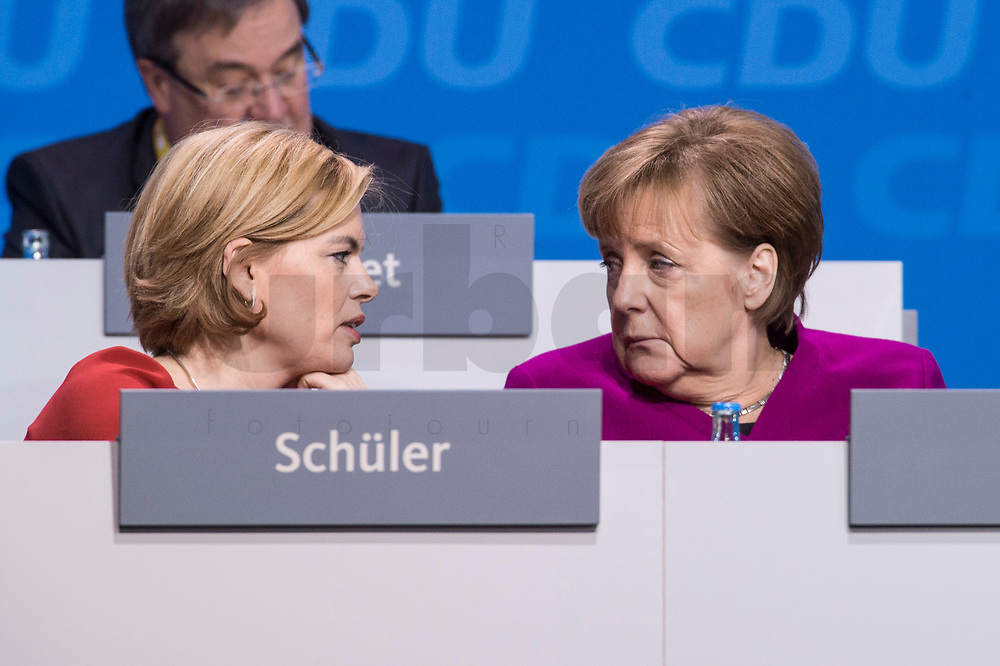 26 FEB 2018, BERLIN/GERMANY:<br /> Julia Kloeckner (L), CDU Landesvorsitzende Rheinland-Pfalz, und Angela Merkel (R), CDU, Bundeskanzlerin, im Gespraech, CDU Bundesparteitag, Station Berlin<br /> IMAGE: 20180226-01-130<br /> KEYWORDS: Party Congress, Parteitag, Julia Klöckner, Gespräch