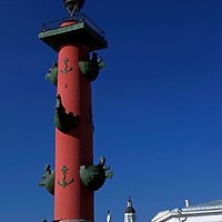 Europe, Russia, St. Petersburg. Red Lighthouse at Spit of Basil Island.