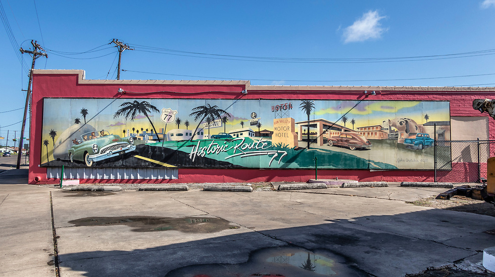 Historic Route 66 mural created in 2005 by John Aretakis. Harlingen, Texas, USA