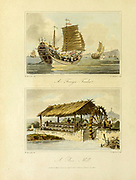 Trading Vessel [Top Chinese Junk] and Rice Mill From the book Travels in China : containing descriptions, observations, and comparisons, made and collected in the course of a short residence at the imperial palace of Yuen-Min-Yuen, and on a subsequent journey through the country from Pekin to Canton By Sir John Barrow, Published in London : T. Cadell and W. Davies 1806