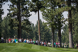 August 5, 2018 - Reno, Nevada, U.S - Sunday, August 5, 2018.SAM SAUNDERS tees off at the 15th hole during the 2018 Barracuda Championship at the Montreux Golf & Country Club in Reno, Nevada...The Barracuda Championship Golf Tournament is one of only 47 stops on the PGA Tour worldwide, and has donated nearly $4 million to charity since 1999. Opened in 1997, the par-72 course was designed by Jack Nicklaus, plays at 7,472 yards (6,832 m) and its average elevation is 5,600 feet (1,710 m) above sea level...The Montrux Golf and Country Club is located midway between Reno and Lake Tahoe...The tournament champion, Andrew Putnam, received a check in the amount of $612,000. (Credit Image: © Tracy Barbutes via ZUMA Wire)