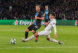 Mats RITS from BRUBES and BERNAT VELASCO Juan from PSG In action during the UEFA Champions League Group A football match Paris Saint-Germain (PSG) v Club Brugge at the Parc des Princes stadium in Paris, France, on November 6, 2019. Photo by Loic BaratouxABACAPRESS.COM