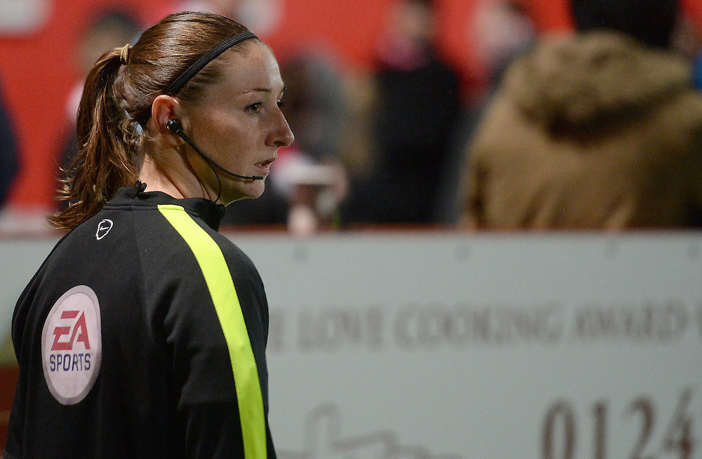 Assistant Referee Sian Massey during the pre-match warm-up <br /> <br /> Photographer /Ian CookCameraSport<br /> <br /> The Checkatrade Trophy - Northern A - Cheltenham Town v Bolton Wanderers  - Tuesday 8th November 2016 - LCI Rail Stadium - Cheltenham<br />  <br /> World Copyright © 2016 CameraSport. All rights reserved. 43 Linden Ave. Countesthorpe. Leicester. England. LE8 5PG - Tel: +44 (0) 116 277 4147 - admin@camerasport.com - www.camerasport.com