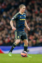 Grant Leadbitter of Middlesbrough in action - Photo mandatory by-line: Rogan Thomson/JMP - 07966 386802 - 15/02/2015 - SPORT - FOOTBALL - London, England - Emirates Stadium - Arsenal v Middlesbrough - FA Cup Fifth Round Proper.