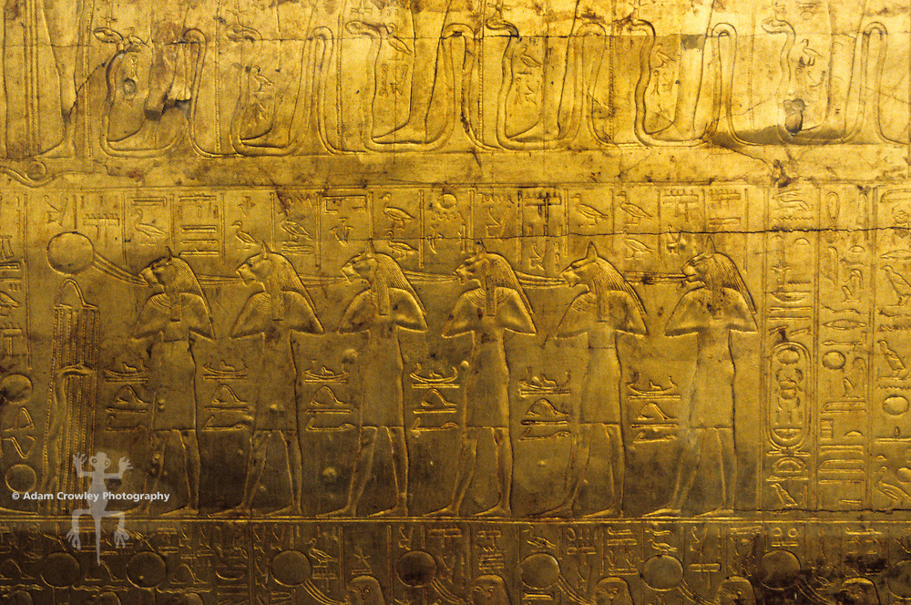 Detail view of exterior of a sarcophagus, Cairo Museum