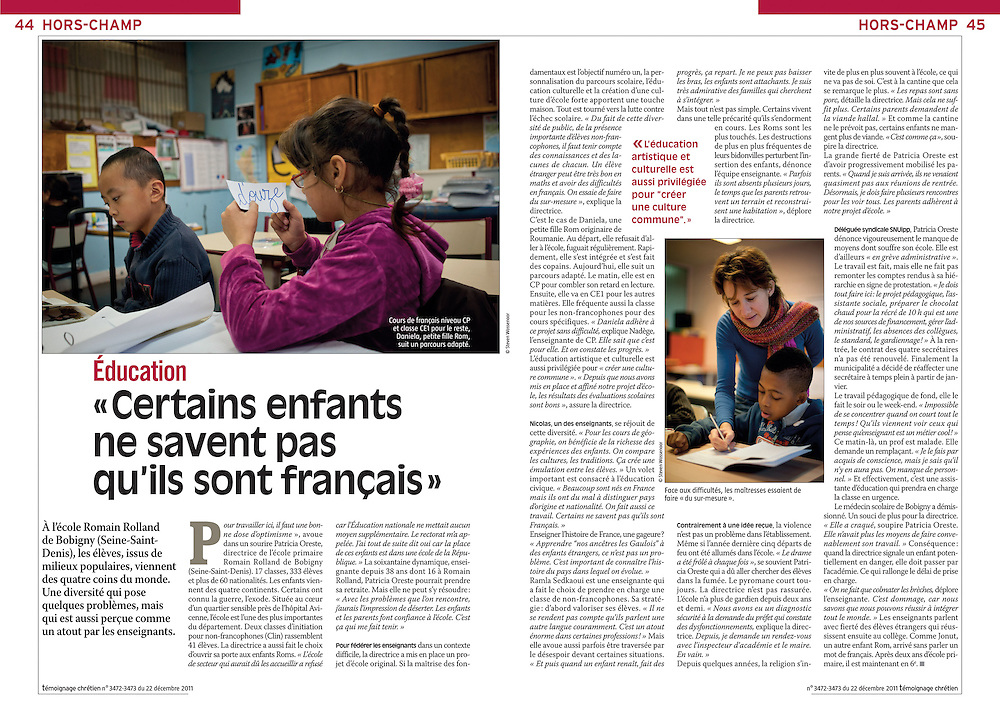 Assignment. Sixty nationalities study together in one school in Bobigny near Paris. (France)