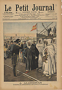 First Moroccan Crisis 1905-1906: The Moroccan delegation led by Sidi Mohammed ben Larbi Torres, arriving for the Algeciras Conference on the colonial status of Morocco, 16 January to 7 April 1906.  Thirteen nations participated and Germany's only ally was Austria.
