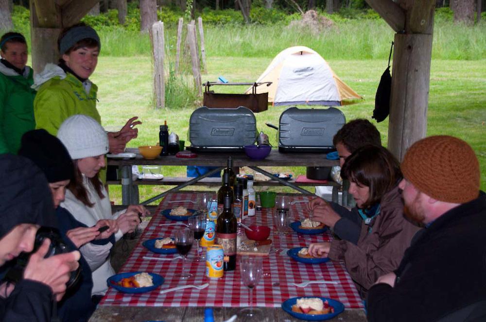 Guides Katy and Aileen Serve Dessert, Jones Island, San Juan Islands, Washington, US