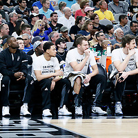 02 April 2017: San Antonio Spurs center Joel Anthony (30), San Antonio Spurs guard Jonathon Simmons (17), San Antonio Spurs guard Bryn Forbes (11), San Antonio Spurs forward David Lee (10), San Antonio Spurs center Pau Gasol (16) and San Antonio Spurs guard Patty Mills (8) are seen on the bench during the San Antonio Spurs 109-103 victory over the Utah Jazz, at the AT&T Center, San Antonio, Texas, USA.