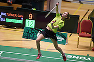 Carissa Turner of Wales during her Womens singles match against Linda Zetchiri .<br /> Wales international badminton championships 2014 at the Welsh institute of Sport, Sophia Gardens in Cardiff, South Wales on Friday 28th November 2014<br /> pic by Andrew Orchard, Andrew Orchard sports photography.