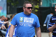 """a Sheffield Wednesday fan wearing his official """"Sheffield Wednesday Play-Off Final"""" shirt. Skybet football league Championship play off final match, Hull city v Sheffield Wednesday at Wembley Stadium in London on Saturday 28th May 2016.<br /> pic by John Patrick Fletcher, Andrew Orchard sports photography."""