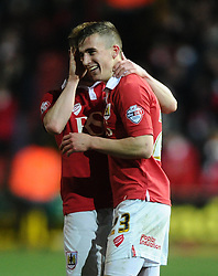 Bristol City's Joe Bryan celebrates his goal with Bristol City's Wade Elliott  - Photo mandatory by-line: Joe Meredith/JMP - Mobile: 07966 386802 - 10/02/2015 - SPORT - Football - Bristol - Ashton Gate - Bristol City v Port Vale - Sky Bet League One