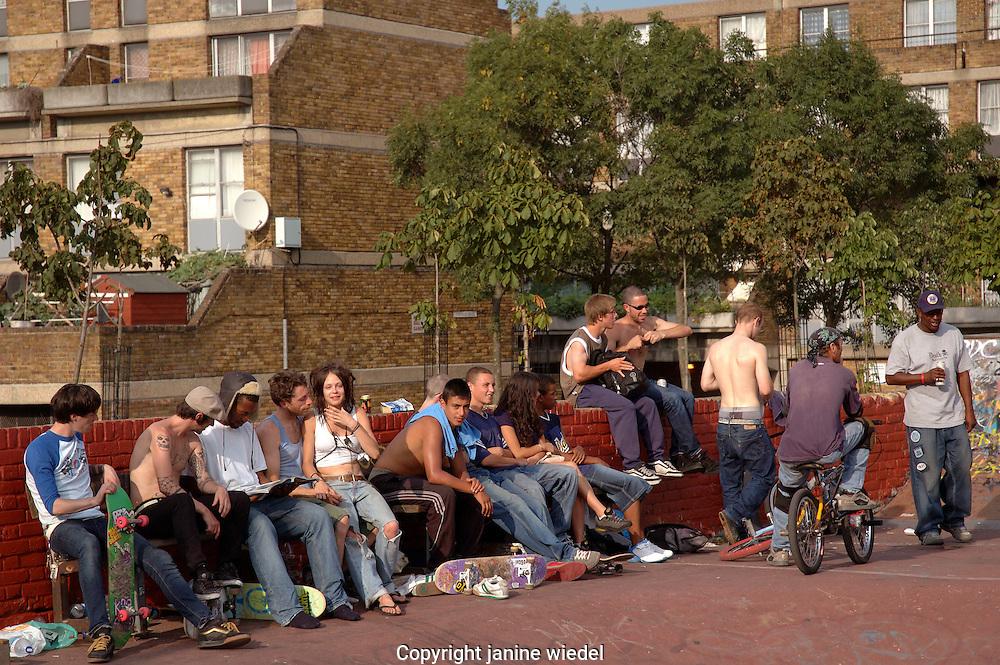 Youth gathering at urban Skate park in Brixton South London.