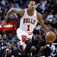 29 January 2012: Chicago Bulls point guard Derrick Rose (1) brings the ball up court during the Miami Heat game against the Chicago Bulls at the AmericanAirlines Arena, Miami, Florida, USA.