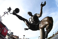A statue of four times FA Cup winner Arsenal legend Dennis Bergkamp, nicknamed the 'Flying Dutchmen' outside Emirates Stadium. The Emirates FA cup, 4th round match, Arsenal v Burnley at the Emirates Stadium in London on Saturday 30th January 2016.<br /> pic by John Patrick Fletcher, Andrew Orchard sports photography.