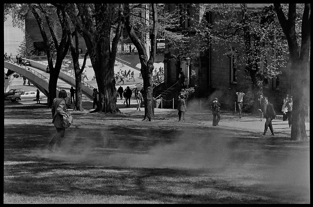 Madison, WI – May, 1970. On May 1, 1970, there was a general student strike in response to the news that the U.S. had expanded bombing into Cambodia. There was a march against the war, led by Veterans for Peace in Vietnam; and after the May 4 shootings at Kent State University in Ohio, there were more protests at UW Madison, which led to the police being called in, and teargassing demonstrators in the streets and on campus. Clouds of teargas on campus.