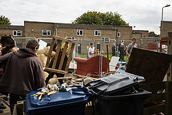Housing activists construct a barricade on the Sweets Way housing estate close to the home of its last surviving resident, Mostafa Aliverdipour, on 23rd September 2015 in London, United Kingdom. A group of housing activists calling for better social housing provision in London had occupied some of the properties on the 142-home estate in Whetstone, in some cases refurbishing properties intentionally destroyed by the legal owners following eviction of the original residents, in order to try to prevent or delay the eviction of Mr Aliverdipour and the planned demolition and redevelopment of the entire estate by Barnet Council and Annington Property Ltd.