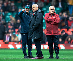 Head Coach Warren Gatland of Wales with Head Coach Joe Schmidt of Ireland<br /> <br /> Photographer Simon King/Replay Images<br /> <br /> Six Nations Round 5 - Wales v Ireland - Saturday 16th March 2019 - Principality Stadium - Cardiff<br /> <br /> World Copyright © Replay Images . All rights reserved. info@replayimages.co.uk - http://replayimages.co.uk